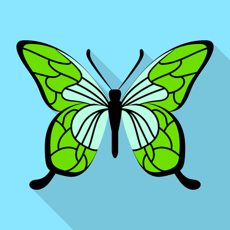 Green butterfly icon, flat style