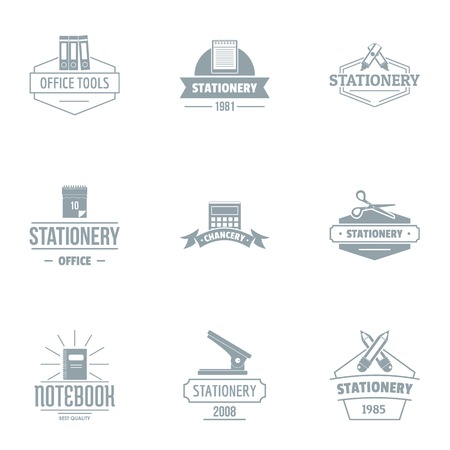 Office day logo set, simple style