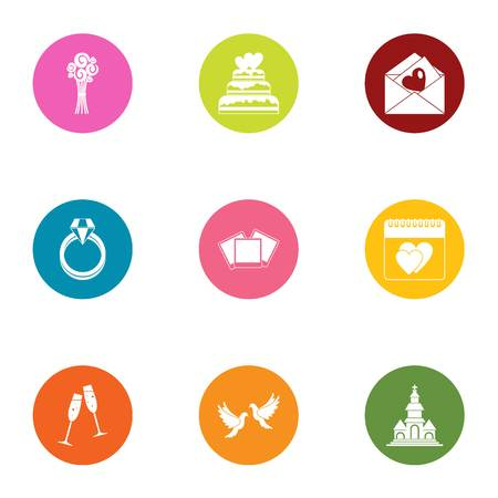 Nuptial icons set, flat style Vector Illustratie