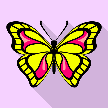 Yellow butterfly icon, flat style  イラスト・ベクター素材
