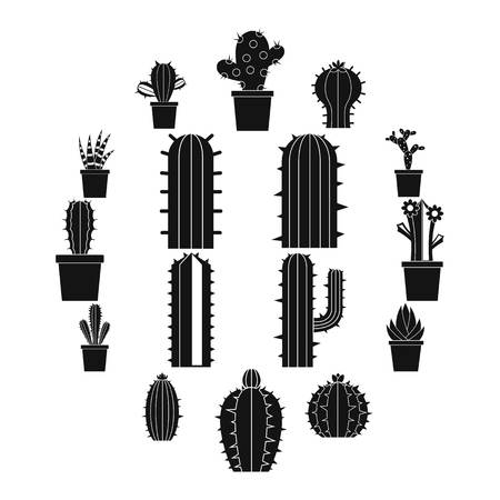 Different cactuses icons set, simple style