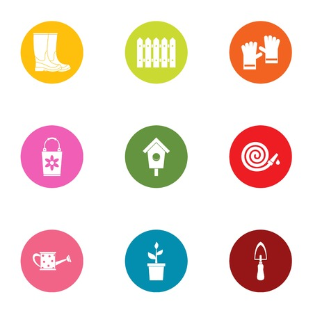 Garden business icons set, flat style