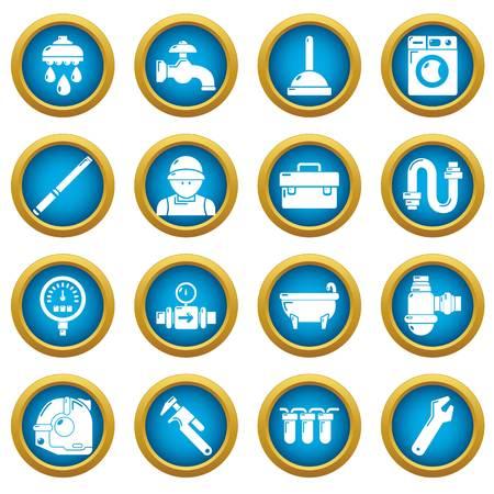 Plumber symbols icons set, simple style Illustration