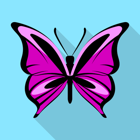 Black purple butterfly icon, flat style