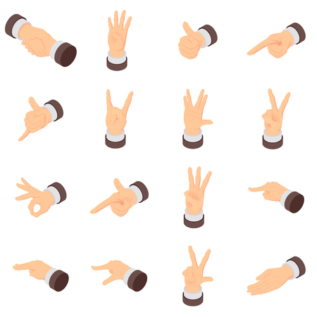 Hand gesture pointer icons set, isometric style