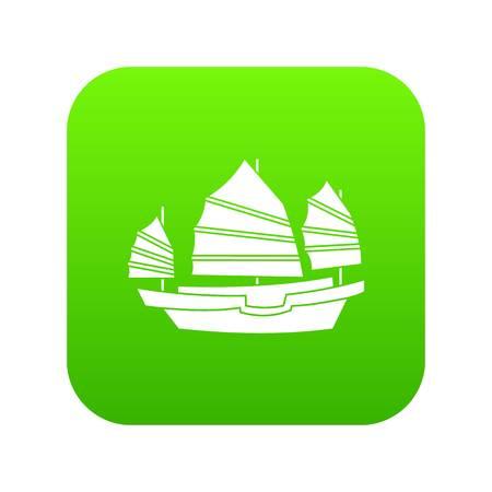 Junk boat icon digital green
