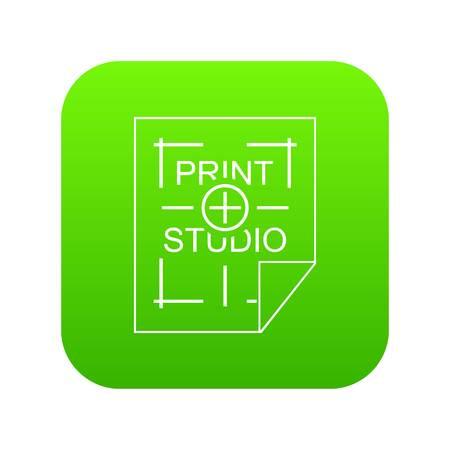 Print studio icon green vector
