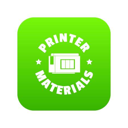 Printer materials icon green vector