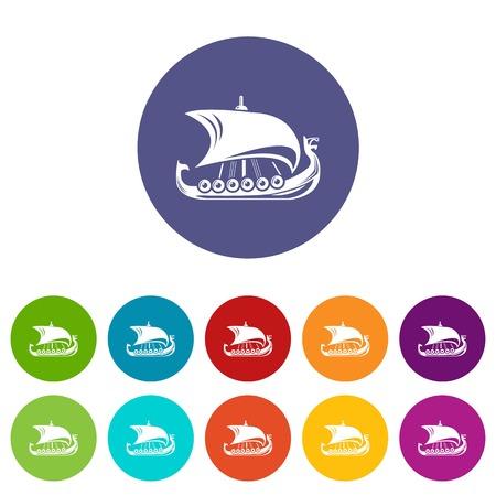 Scandinavian ship icon, simple style Illustration