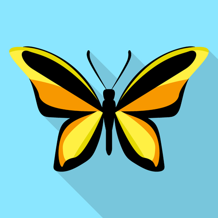 Orange black butterfly icon, flat style