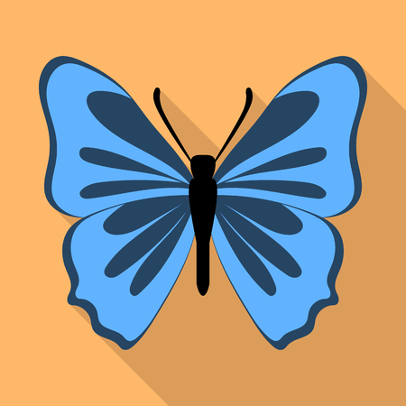 Grey blue butterfly icon, flat style