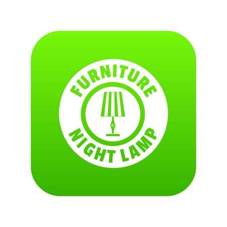 Night lamp icon green vector