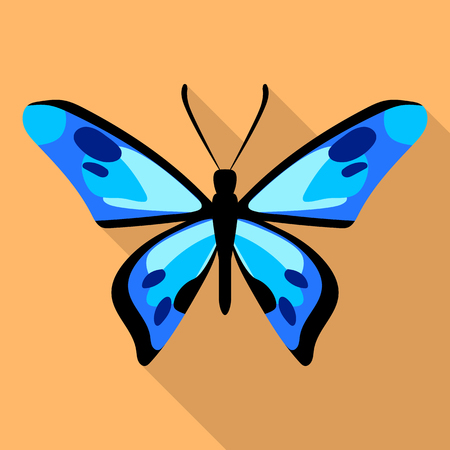 Dotted blue butterfly icon, flat style