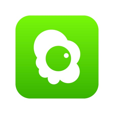 Fried egg icon digital green Stock Illustratie