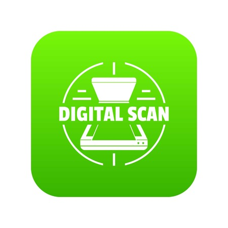 Digital scan icon green vector