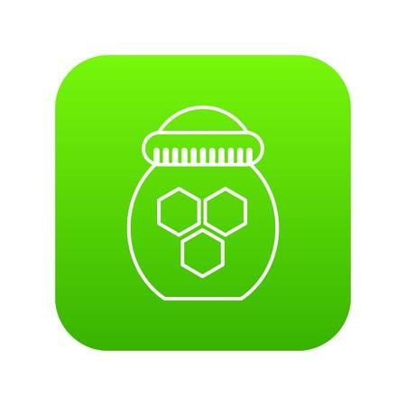 Jar of honey icon green vector