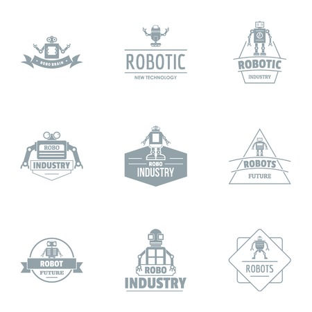 Hi tech industry logo set, simple style