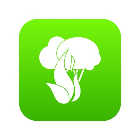 Burning forest trees icon digital green