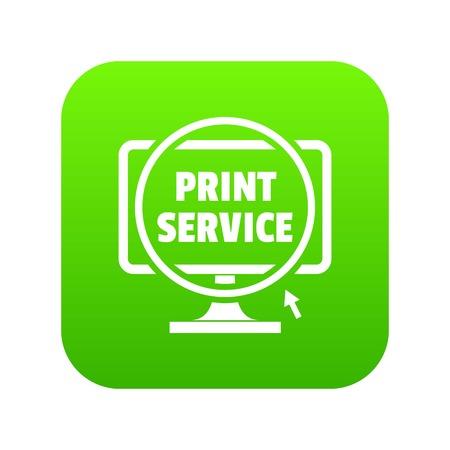 Print service icon green vector