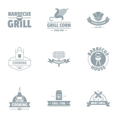Grill logo set, simple style