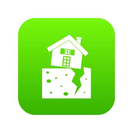 House after an earthquake icon digital green Illustration