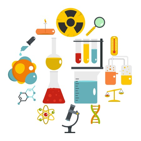 Chemical laboratory icons set in flat style Illustration