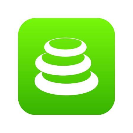 Stack of basalt balancing stones icon digital green 向量圖像