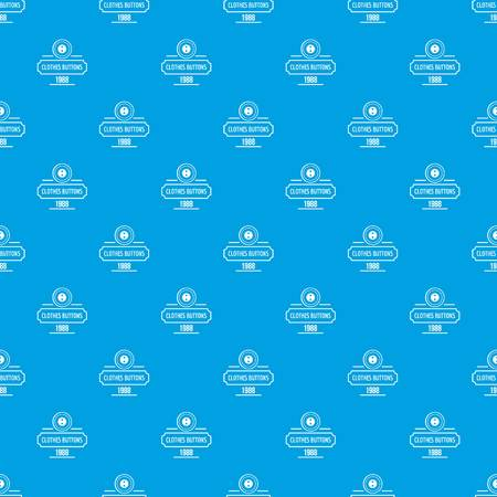 Clothes button service pattern vector seamless blue