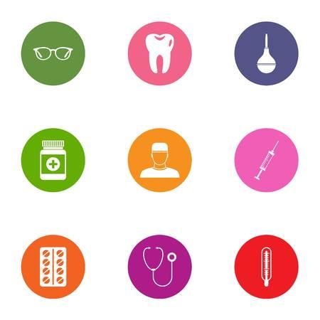 Medical intervention icons set, flat style Stock Illustratie