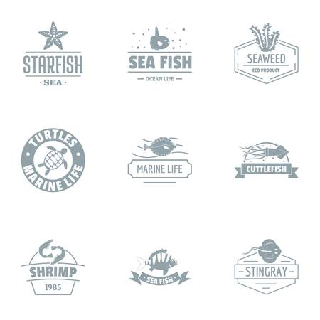 Sea clean logo set, simple style Illustration