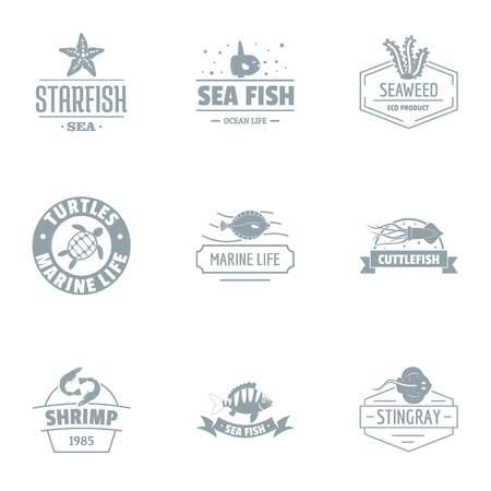 Sea clean logo set, simple style Ilustrace