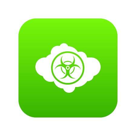 Cloud with biohazard symbol icon digital green
