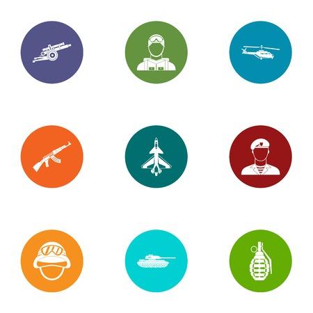 Armed uprising icons set, flat style Illustration
