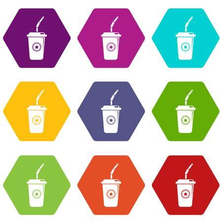 Plastic glass juice icons set 9 vector Illusztráció