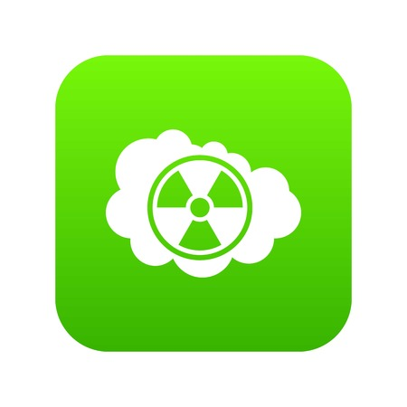 Cloud and radioactive sign icon digital green Illustration