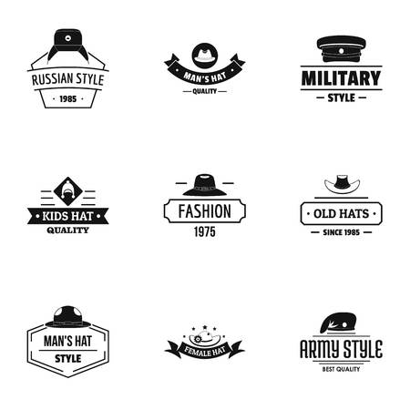 Hat fashion logo set, simple style Illusztráció