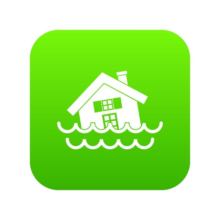 House sinking in a water icon digital green