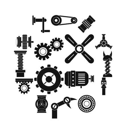 Techno mechanisms kit icons set, simple style