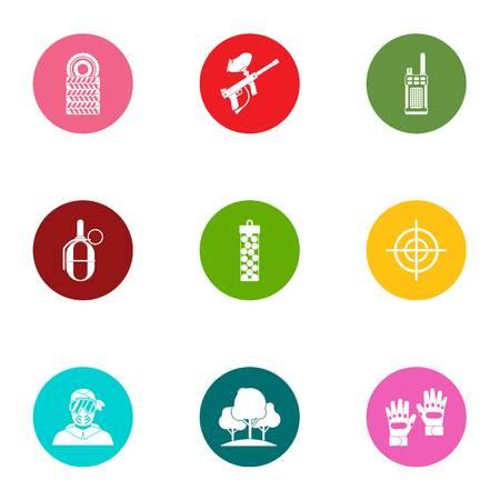 Military doctrine icons set, flat style