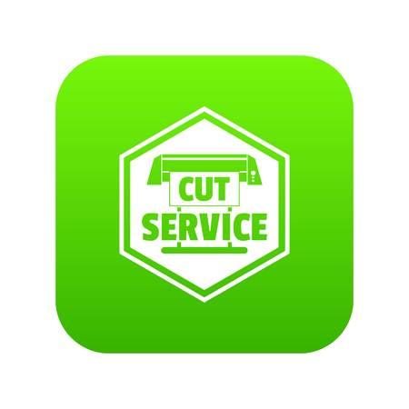 Cut service icon green vector Vettoriali