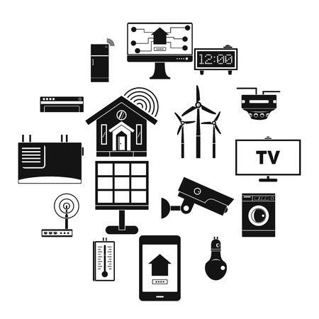 Smart home house icons set, simple style Illustration