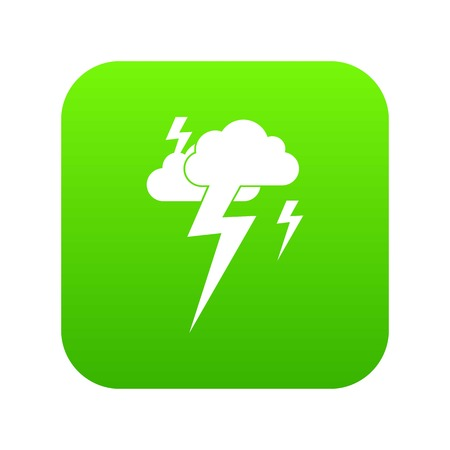 Cloud and lightning icon digital green