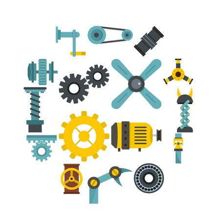 Techno mechanisms kit icons set in flat style Ilustração