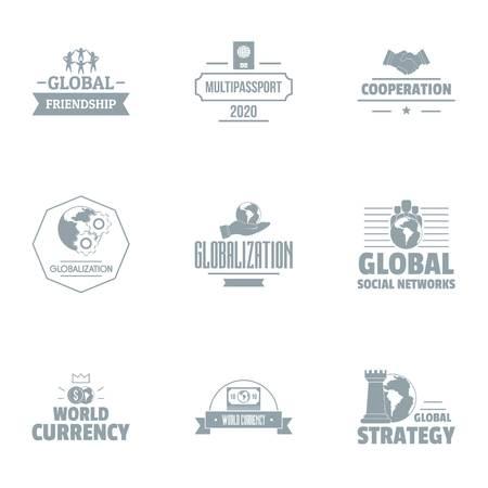 Globalization logo set, simple style Archivio Fotografico - 101500905
