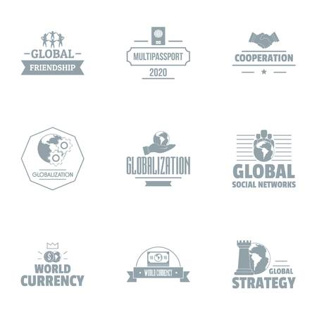 Globalization logo set, simple style