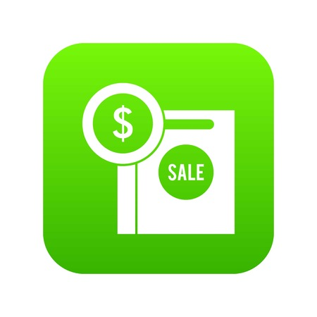 Dollar sign and shopping bag for sale icon digital green