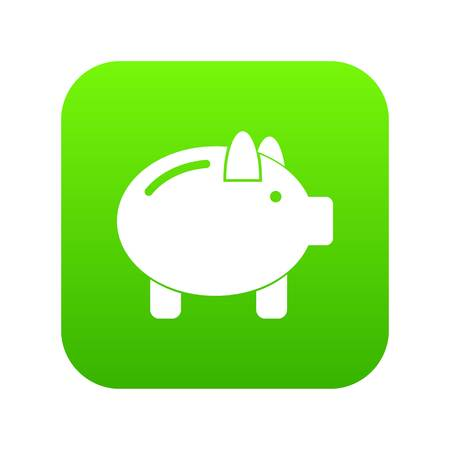 Piggy bank icon digital green