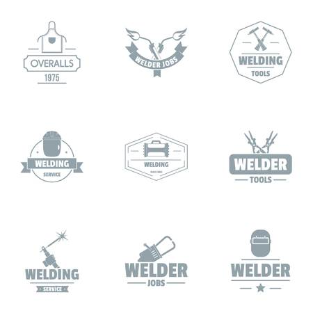 Welding unit logo set, simple style