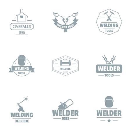 Welding unit logo set, simple style