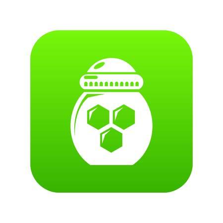 Jar honey icon green vector